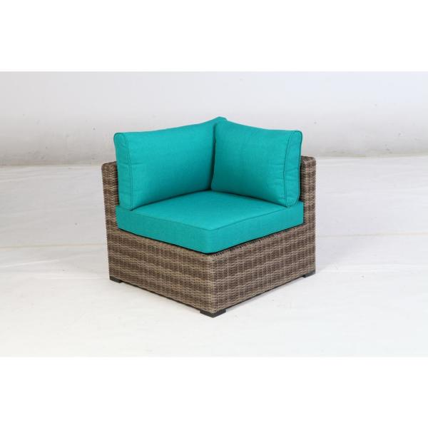 Muirwood Aluminum Corner Outdoor Sectional Chair with Blue Cushions