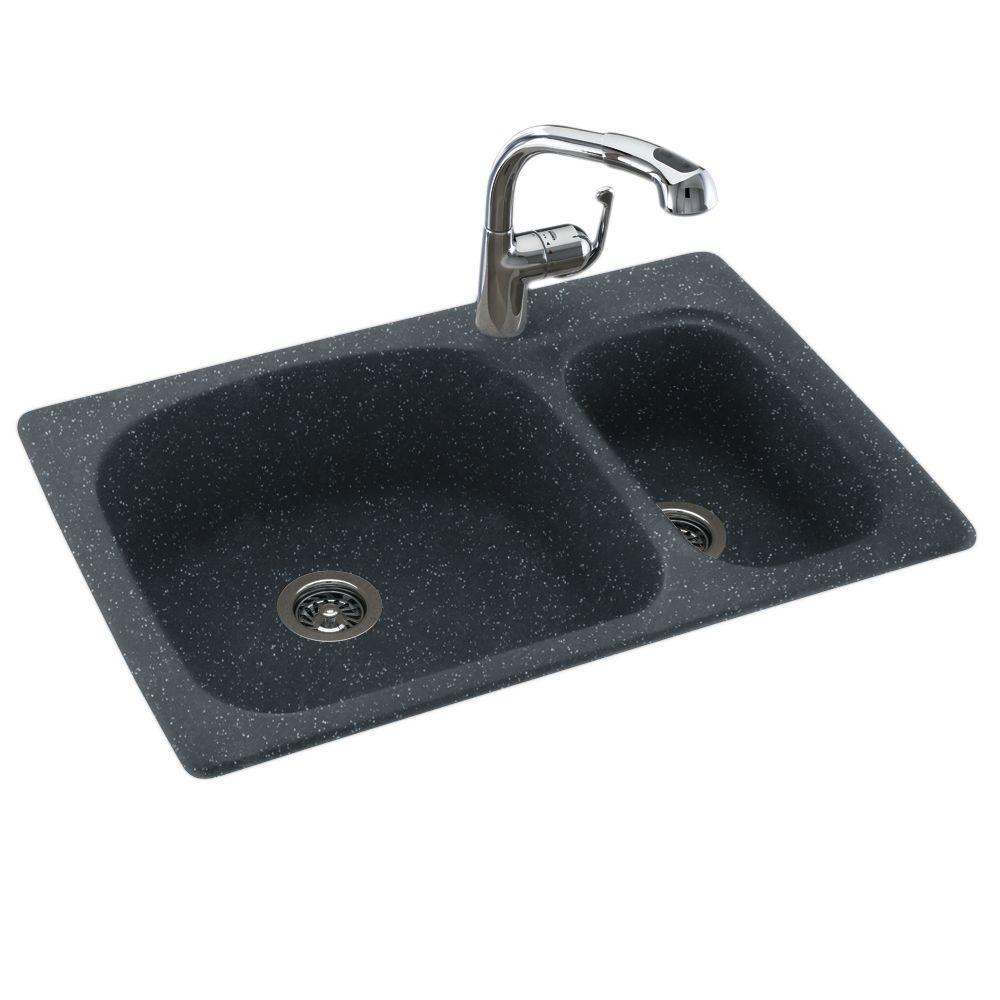1-Hole Large/Small Double Bowl Kitchen Sink in Black Galaxy-KS03322LS.015 -  The Home Depot