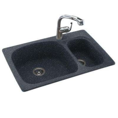 Drop-In/Undermount Composite 33 in. 1-Hole 70/30 Double Bowl Kitchen Sink in Black Galaxy