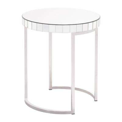 Mirrored Mirror Circular End Table