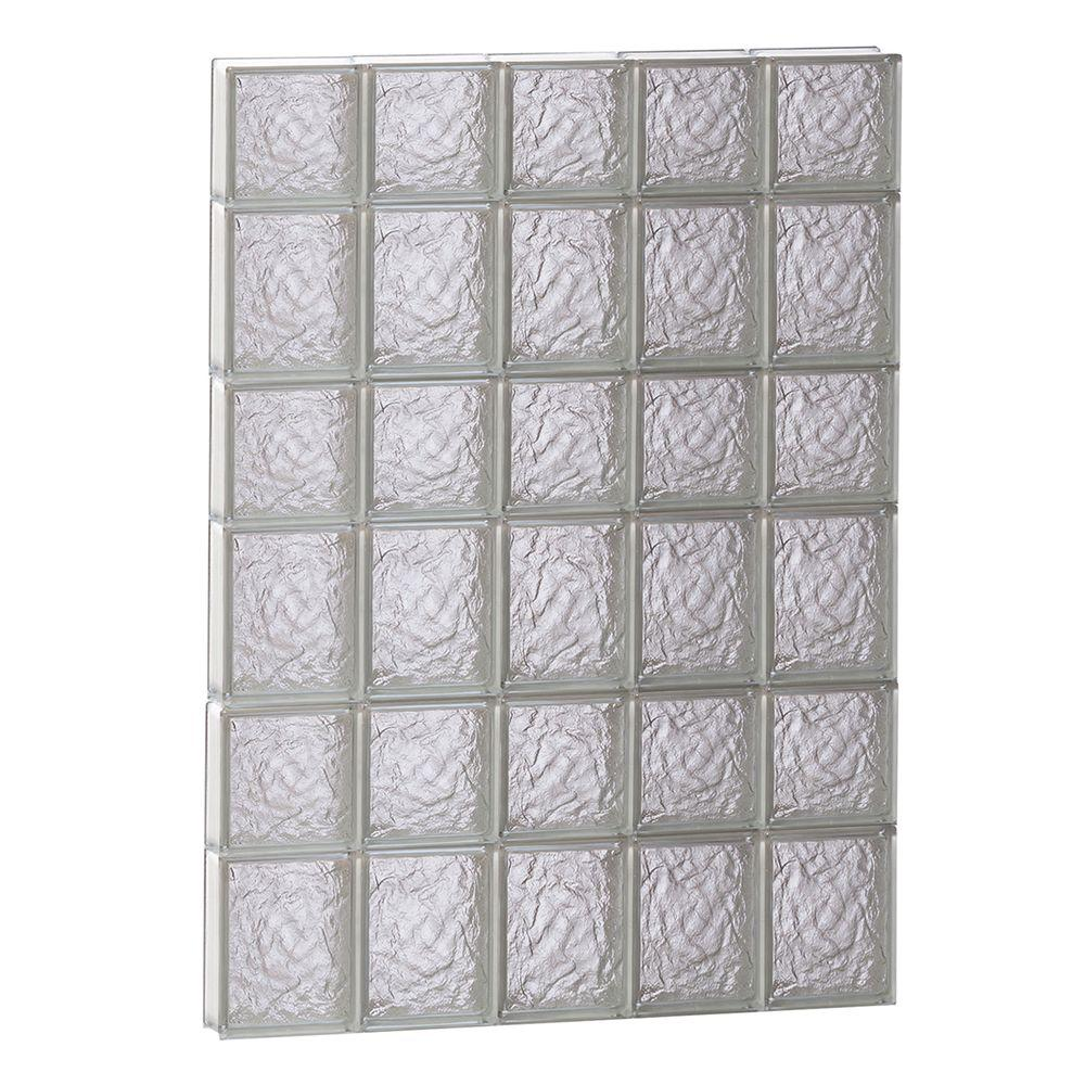 Clearly Secure 28.75 in. x 40.5 in. x 3.125 in. Frameless Ice Pattern Non-Vented Glass Block Window