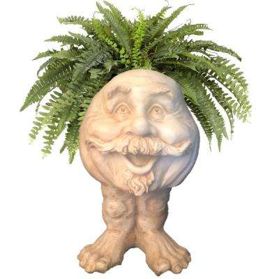 18 in. Antique White Uncle Nate the Muggly Statue Face Planter Holds 7 in. Pot