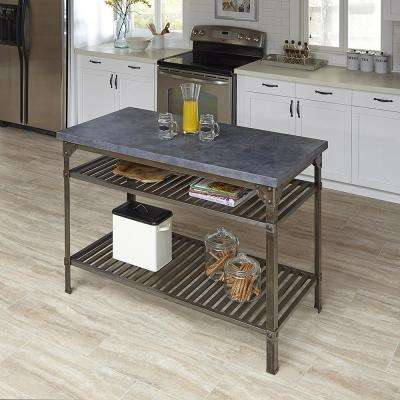Urban Style Aged Rust Kitchen Utility Table with Concrete Top