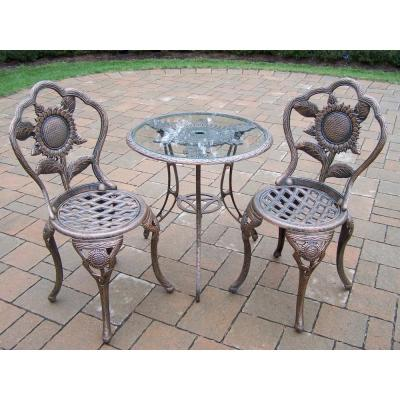 Sunflower 3-Piece Aluminum Outdoor Bistro Set