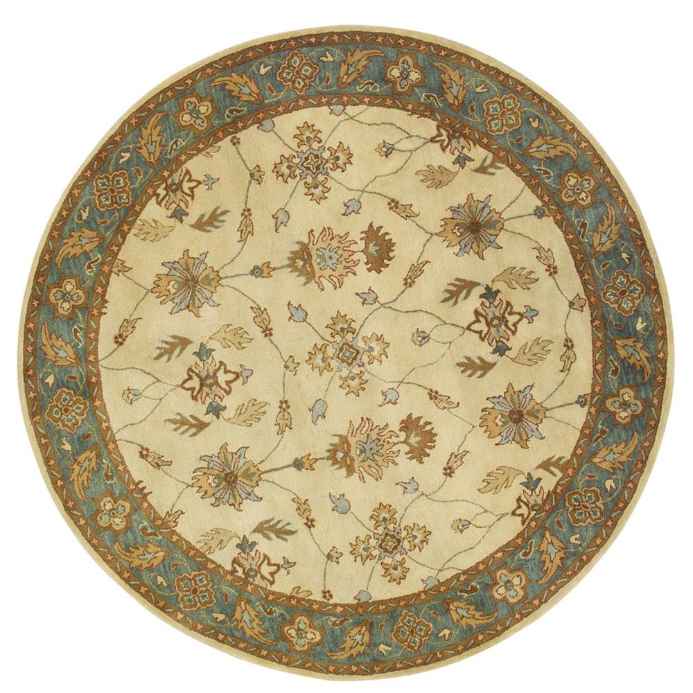 Charisma Ivory/Blue 5 ft. 3 in. Round Indoor Area Rug