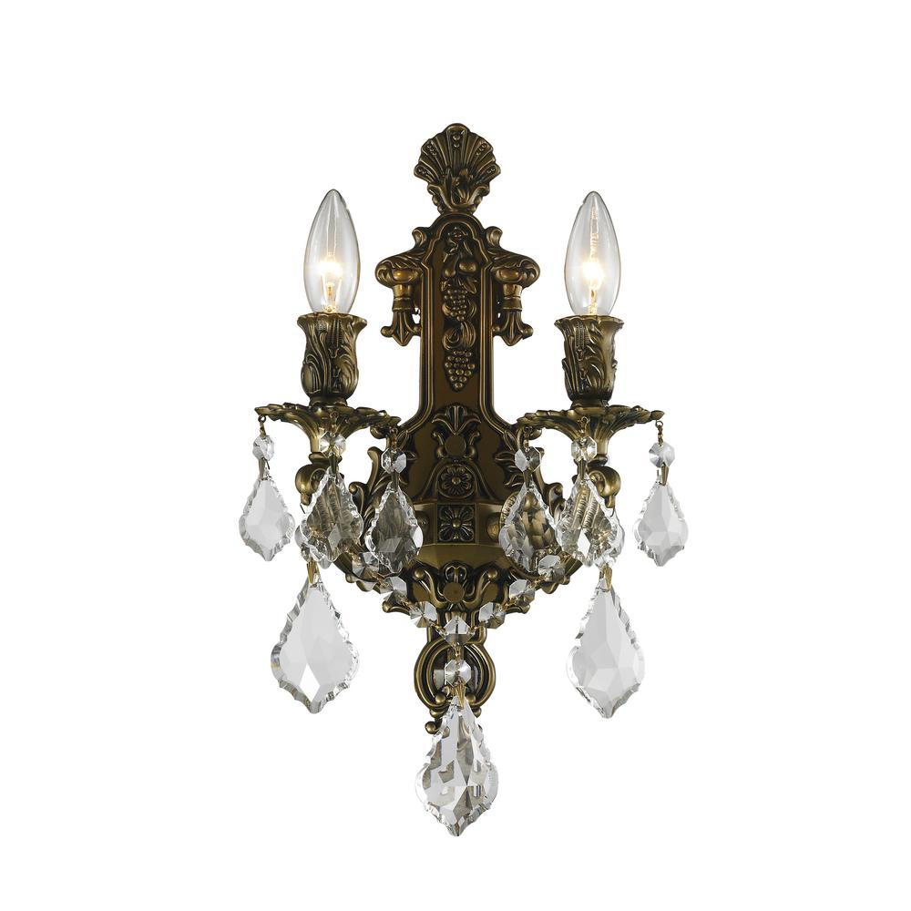 Worldwide Lighting Versailles 2 Light Antique Bronze Clear Crystal Sconce