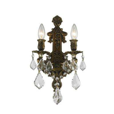 Versailles 2-Light Antique Bronze Clear Crystal Sconce