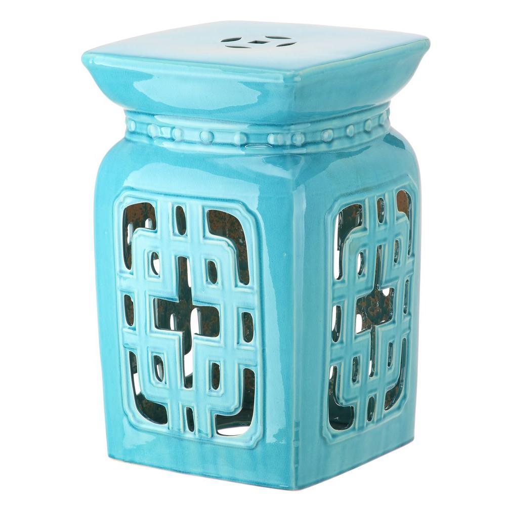 Beijing Filigree Light Blue Garden Patio Stool