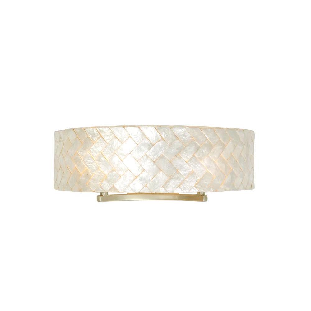 Varaluz radius 2 light gold dust bath vanity light with - Capiz shell bathroom accessories ...