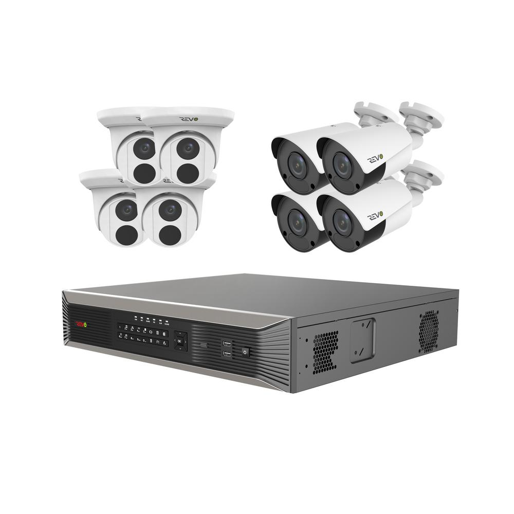 Ultra Plus Commercial Grade 16-Channel 4K 4TB Smart NVR Surveillance System with (8) 4K 8MP Indoor/Outdoor Cameras With incredible video quality, ease of use, and powerful networking tools, Revo Ultra is the very best that Revo has to offer. Enjoy additional professional and premium-residential features with Revo Ultra Plus. The Revo Ultra's superb video quality is based on IP technology. The RUP161T4KB4K-4T is a complete plug and play smart HD surveillance system with 16 channel 4K smart NVR, 4TB and 8x 4K HD Indoor/Outdoor Cameras. Revo Ultra Plus NVRs feature state of the art 4K Video Output, H.265 Compression, support up to 12MP Cameras and up to an astounding 32TB of Hard Drive Capacity (4TB Pre-installed). The Indoor/Outdoor cameras feature massive True 4K Sensors, 2 times the resolution of 4MP Cameras. The built-in Professional Grade OSRAM LEDs and IR anti reflection glass strongly illuminate the scene up to an unprecedented 100 in total darkness. The Turret camera feature a 2.8 mm fixed lens which provides a 105° angle of view. The Bullet Camera feature a 4 mm lens which provides an 80° angle of view. The cameras are built for the outdoors capable of handling temperatures as cold -40°F and as hot as 140. View your Revo Ultra 4K cameras from anywhere. Using the Revo Ultra Mobile smartphone app, simply set up an account and then scan your NVRs QR code to begin mobile viewing. Access your Ultra NVR via the web using www.myrevocloud.com. Experience Peace of Mind with the ultimate high resolution IP technology from Revo.