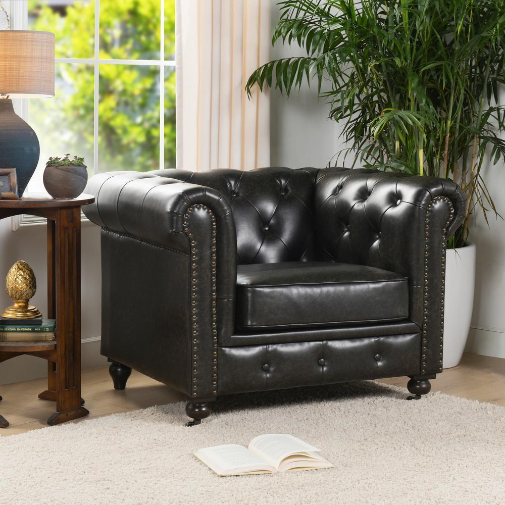 Winston Leather Chesterfield Armchair, Vintage Black