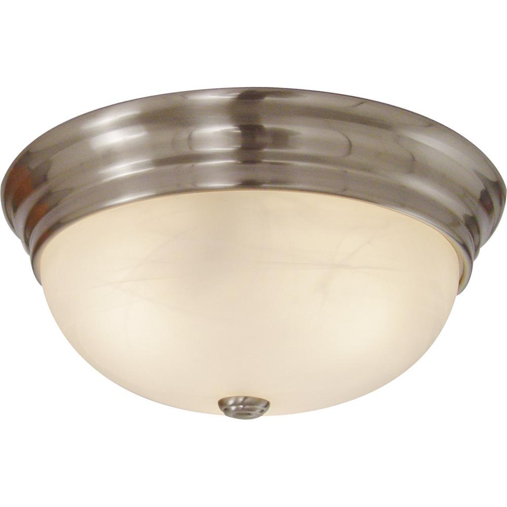 Small 1-Light Brushed Nickel Indoor/Outdoor Flush Mount Ceiling Fixture with White Alabaster Glass Bowl