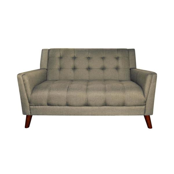 Candace 54 in. Mocha Tufted Polyester 2-Seater Loveseat with Tapered Wood Legs