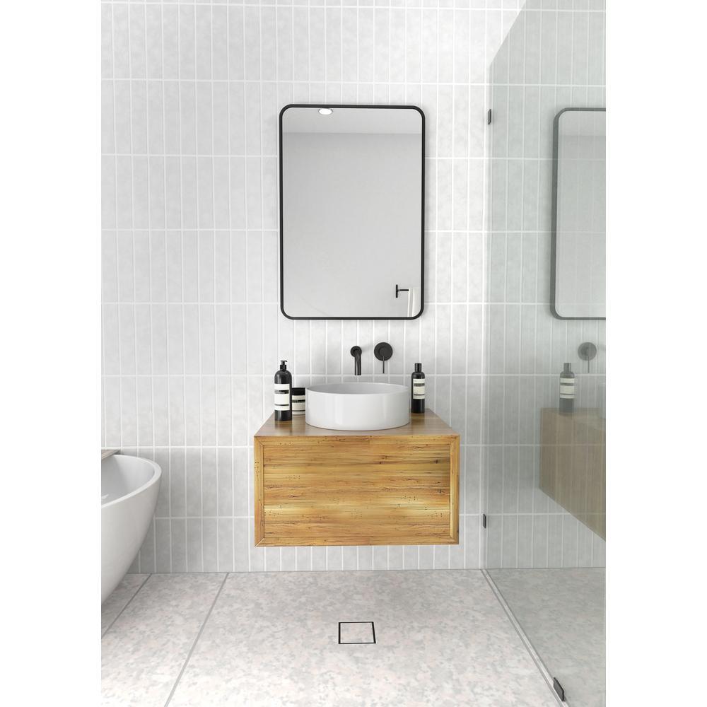 22 in. W x 32 in. H Framed Square Bathroom Vanity Mirror in Black