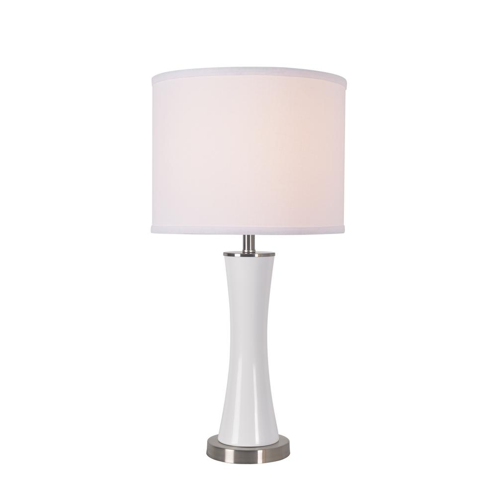 Kenroy Home Kourtney 22 in. White and Brushed Steel Accent Lamp with White Shade