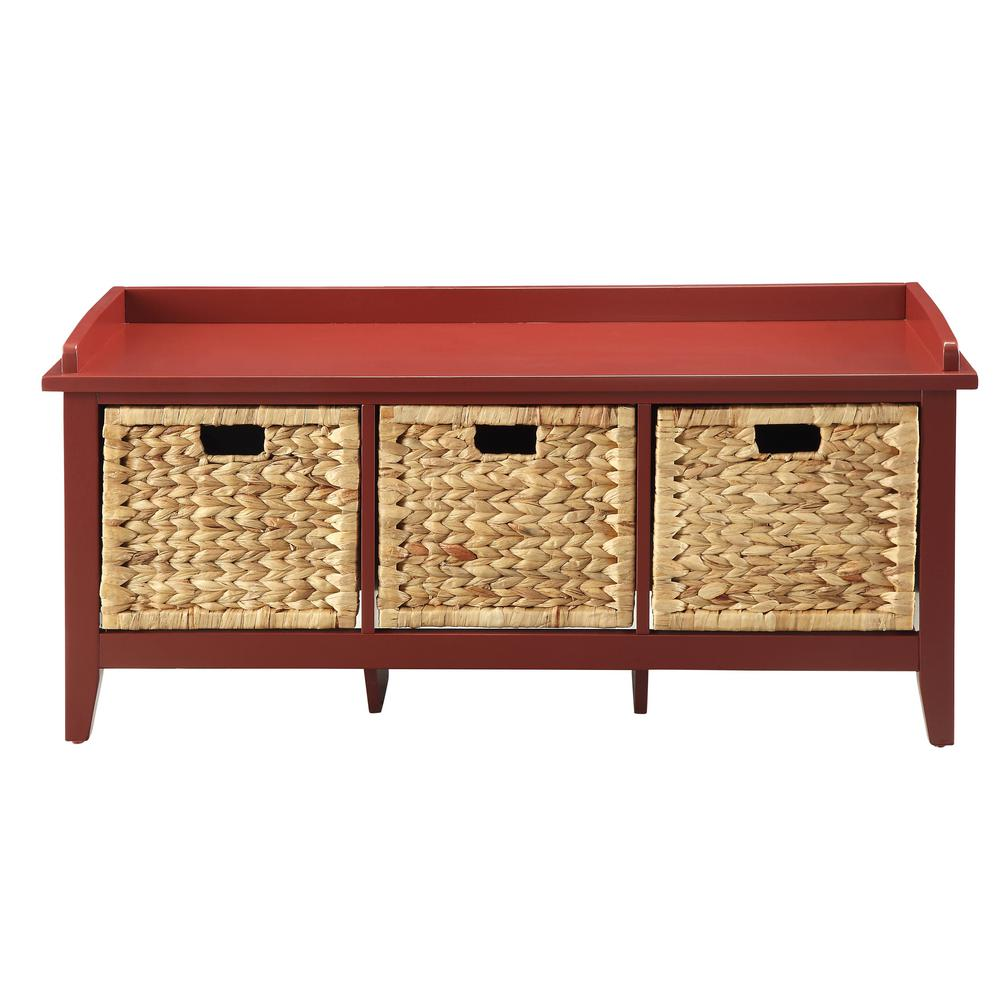 Flavius Burgundy Storage Bench