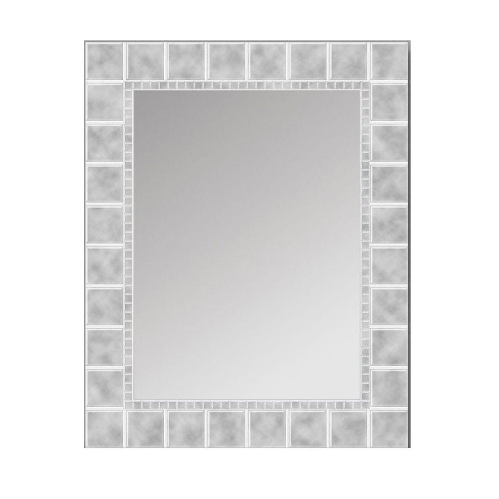 deco mirror 36 in l x 24 in w large glass block rectangle wall mirror 8199 the home depot - Home Depot Bathroom Mirrors