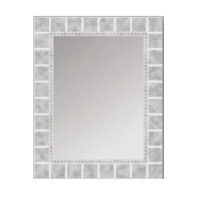 36 in. L x 24 in. W Large Glass Block Rectangle Wall Mirror