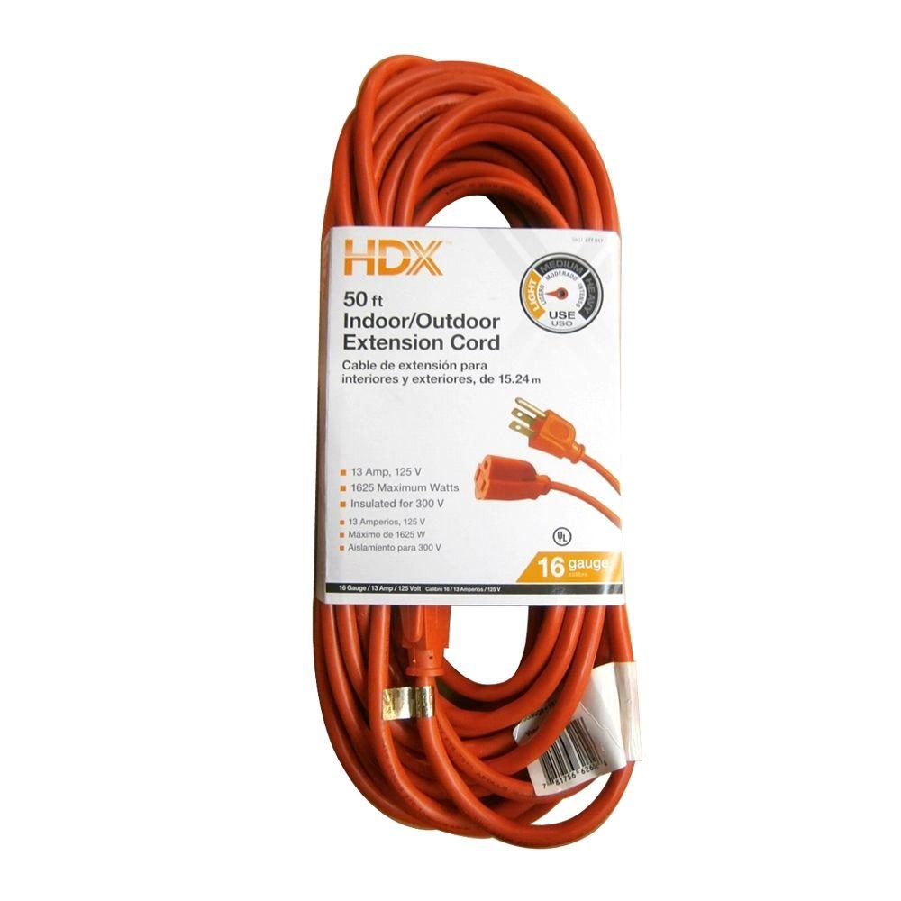 HDX 50 ft. 16/3 Indoor/Outdoor Extension Cord, Orange