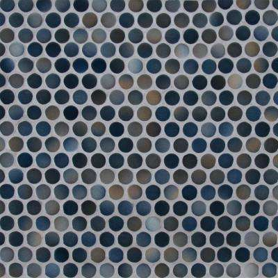 Penny Round Azul 11.3 in. x 12.2 in. x 6mm Porcelain Mesh-Mounted Mosaic Tile (14.36 sq. ft. / case)