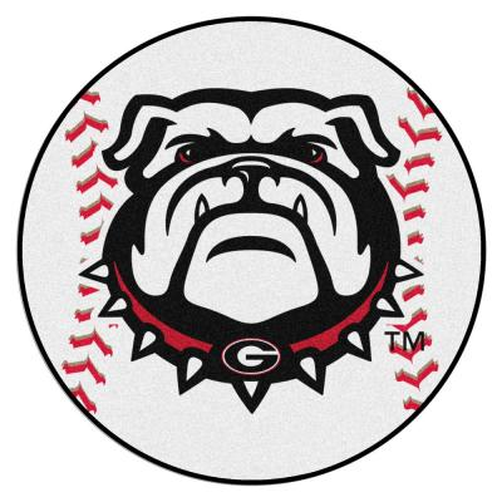 NCAA University of Georgia 27 in. Round Baseball Mat Area Rug