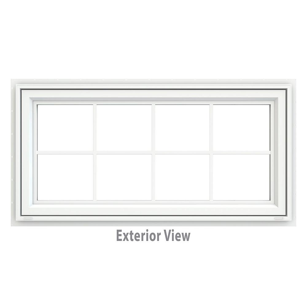 JELD-WEN 47.5 in. x 23.5 in. V-4500 Series Awning Vinyl Window with Grids - White