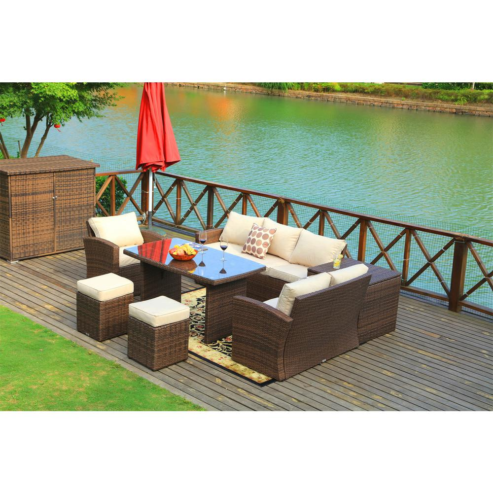 DIRECT WICKER Beverly 7-Piece Steel Wicker Patio Furniture Outdoor  Sectional Sofa Set with Beige Cushions and Ottomans