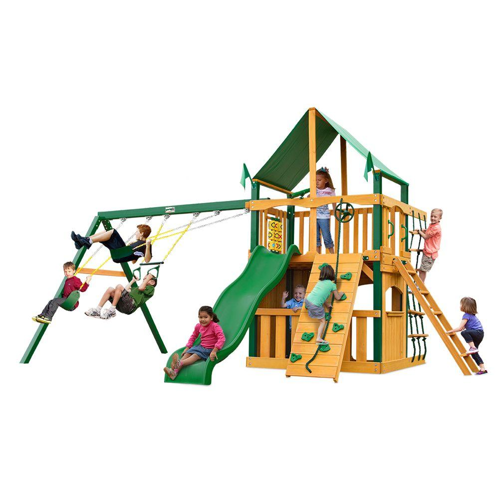 Chateau Clubhouse with Timber Shield and Deluxe Green Vinyl Canopy Cedar