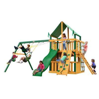 Chateau Clubhouse with Timber Shield and Deluxe Green Vinyl Canopy Cedar Playset