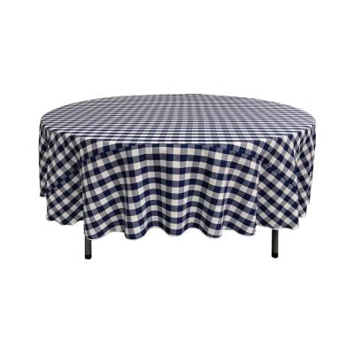 90 in. White and Navy Polyester Gingham Checkered Round Tablecloth