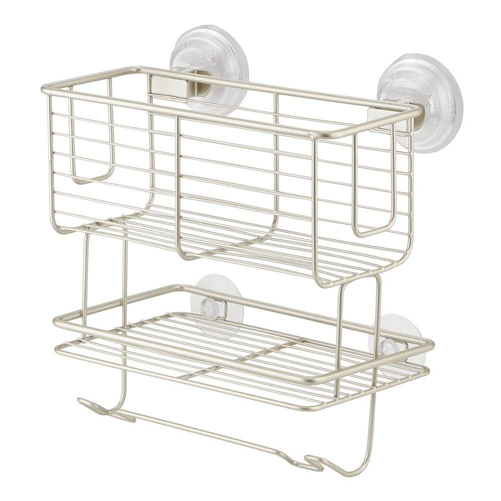interDesign Classico Suction 2-Tier Combo Basket in Satin-24425 ...