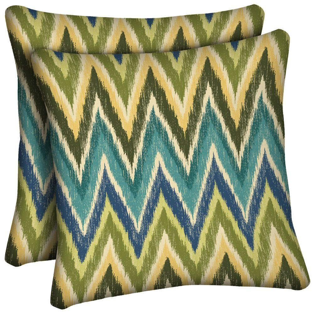 Hampton Bay Straight Ikat Chevron Outdoor Throw Pillow (2-Pack)-DISCONTINUED