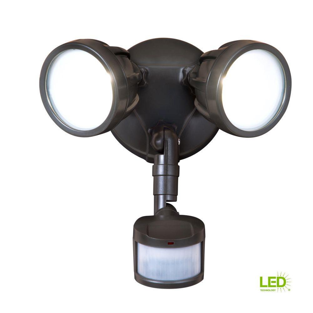 180-Degree Bronze Motion Activated Sensor Twin-Head Round Outdoor Integrated LED