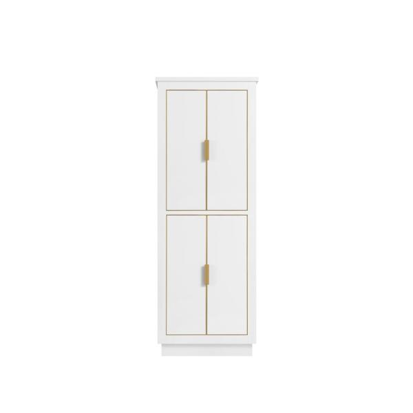 Allie 24 in. W x 16 in. D x 65 in. H Floor Cabinet in White with Gold Trim