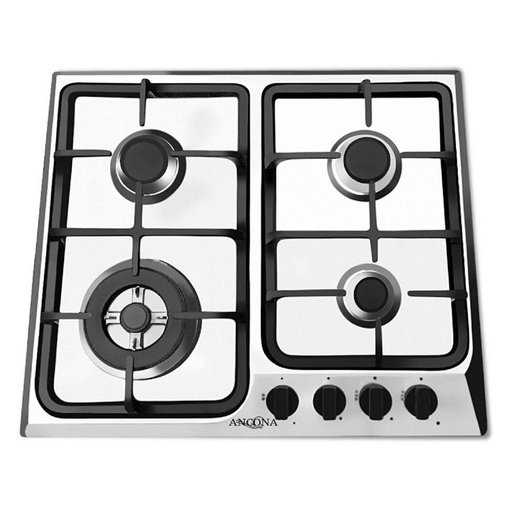 24 in. Gas Cooktop in Stainless Steel with 4 Burners including