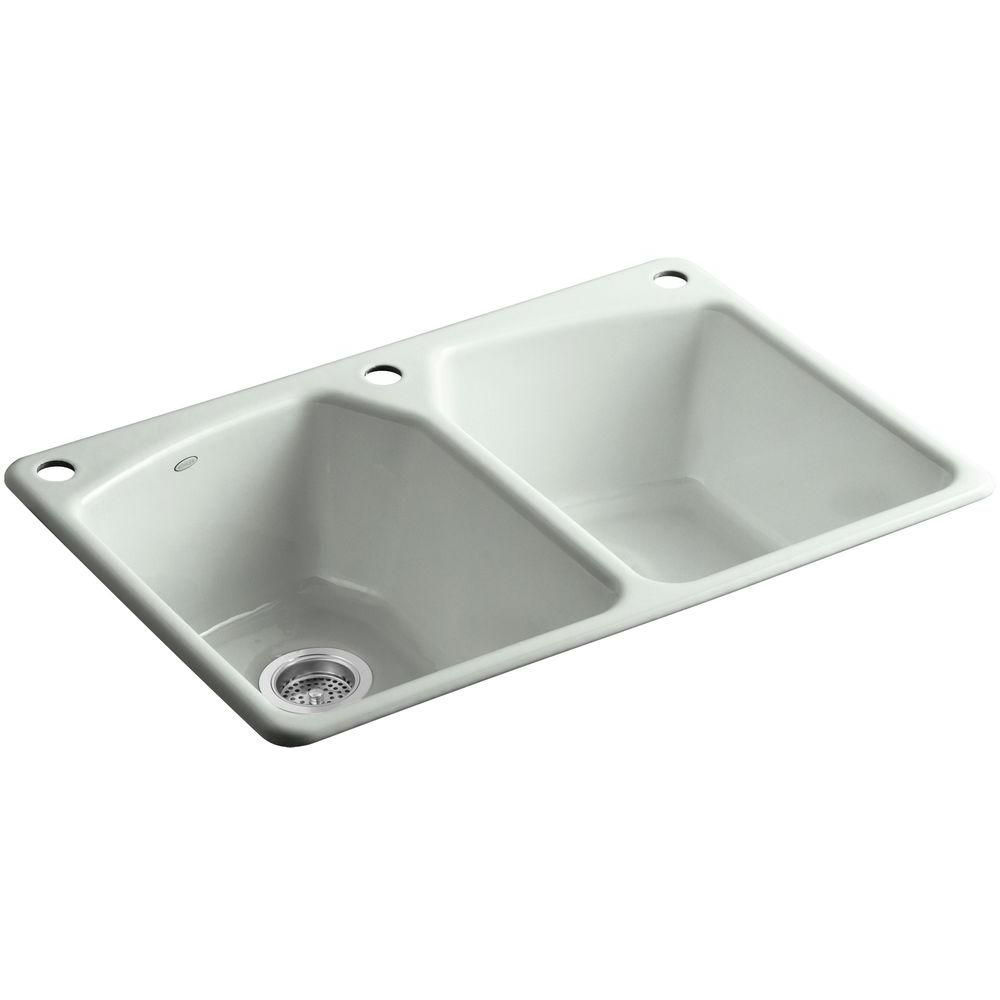 KOHLER Tanager Drop-in Cast-Iron 33 in. 3-Hole Double Bowl Kitchen Sink in Sea Salt