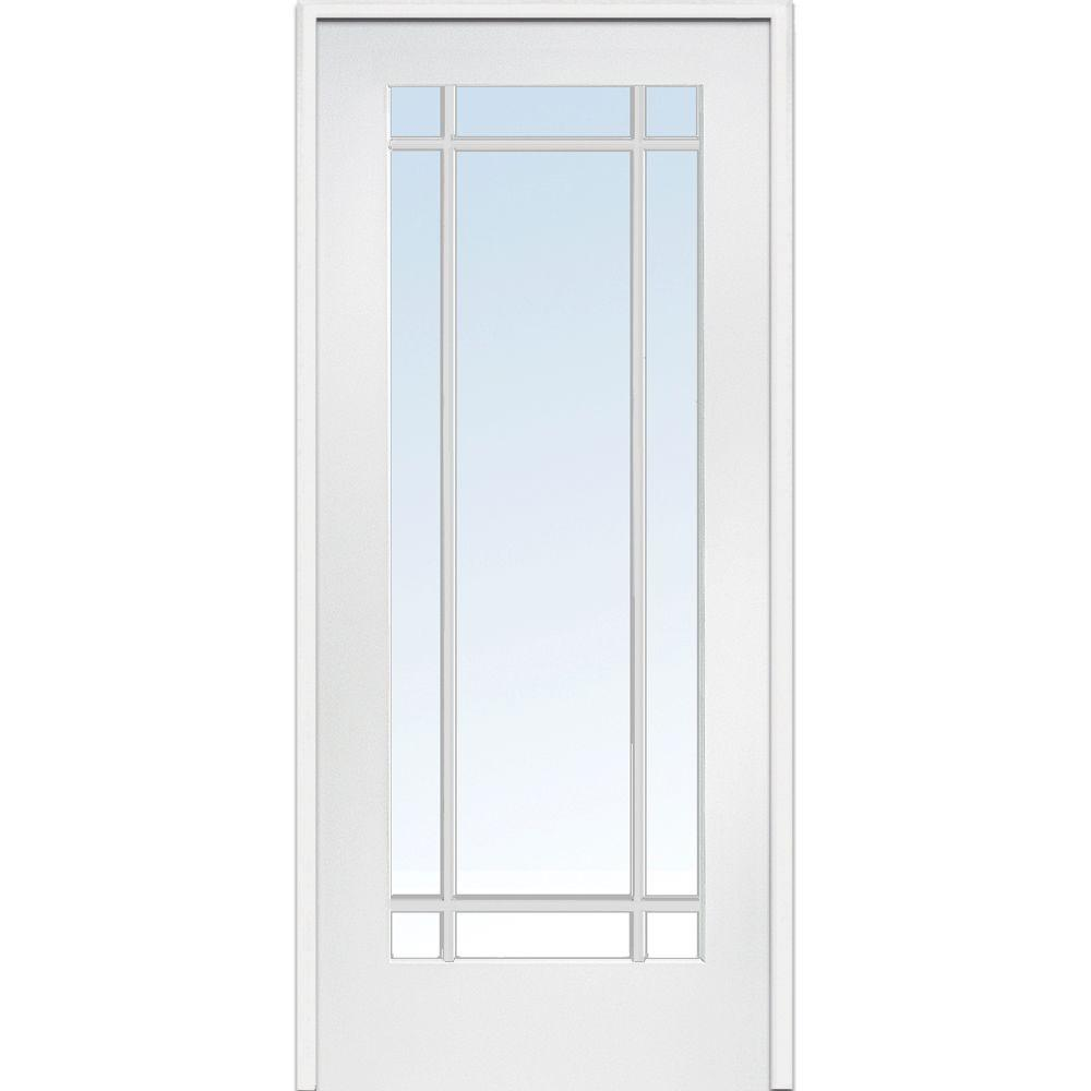 Gentil Left Handed Primed Composite Clear Glass 9 Lite True Divided Single Prehung  Interior Door