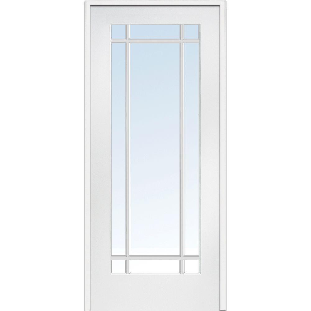Genial Left Handed Primed Composite Clear Glass 9 Lite True Divided Single Prehung  Interior Door