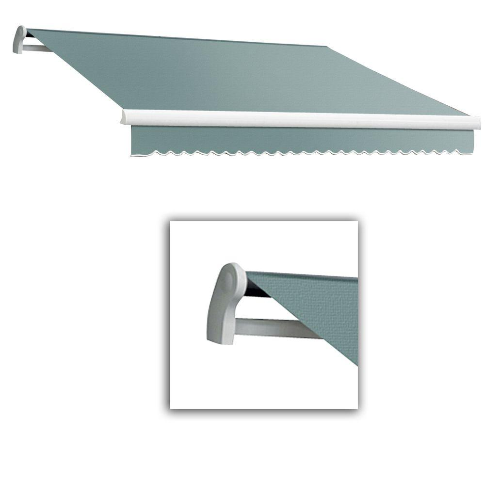 AWNTECH 10 ft. Maui-LX Left Motor Retractable Acrylic Awning with Remote (96 in. Projection) in Sage
