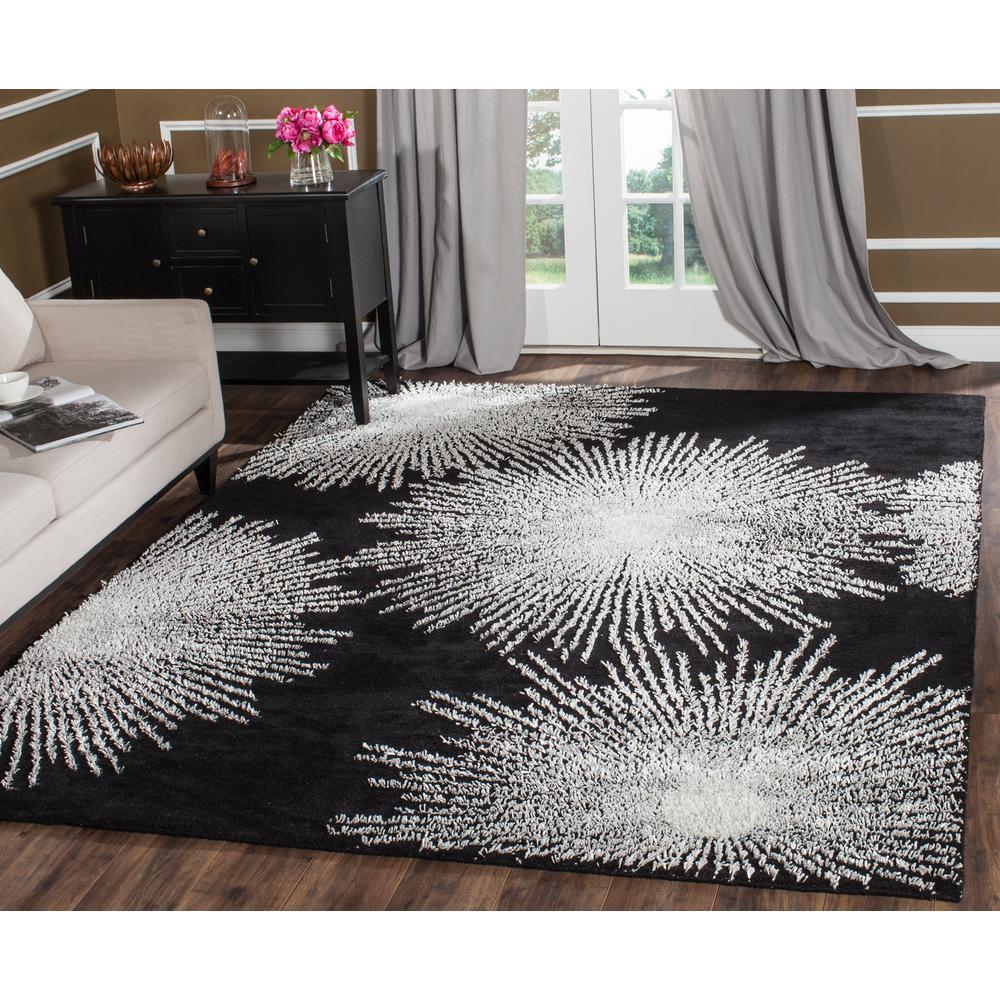 Safavieh Soho Black/White Wool 9 ft. 6 in. x 13 ft. 6 in. Area Rug