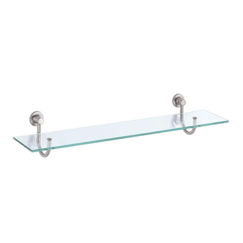 Beau D Satin Nickel Decorative Glass Shelf