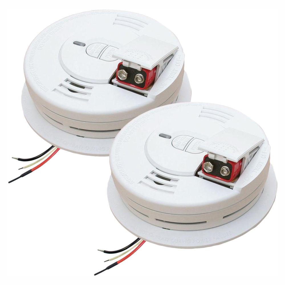 Kidde FireX Hardwire Smoke Detector with 9-Volt Battery Backup, Ionization Sensor, and 2-Button Test/Hush (2-Pack)