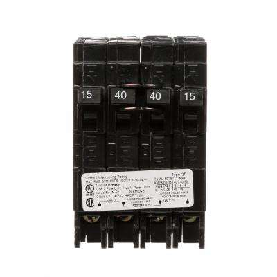 40 Amp Double-Pole and (2) 15 Amp Single-Pole Type QT Triplex Circuit Breaker