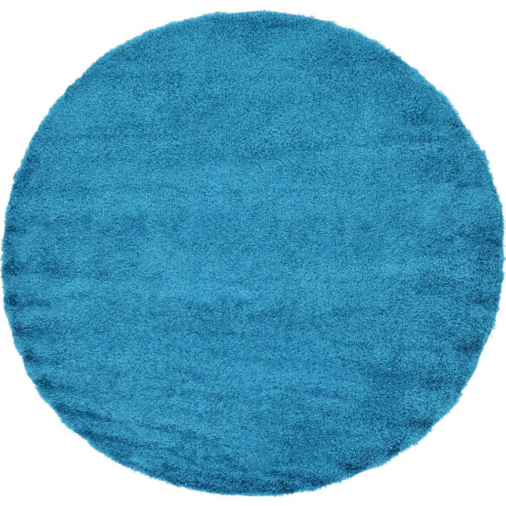 "Unique Loom Solid Shag Turquoise 8'2"" X 8'2"" Round Rug"
