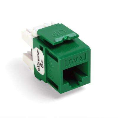 QuickPort Extreme CAT 6 Connector with T568A/B Wiring, Green (25-Pack)