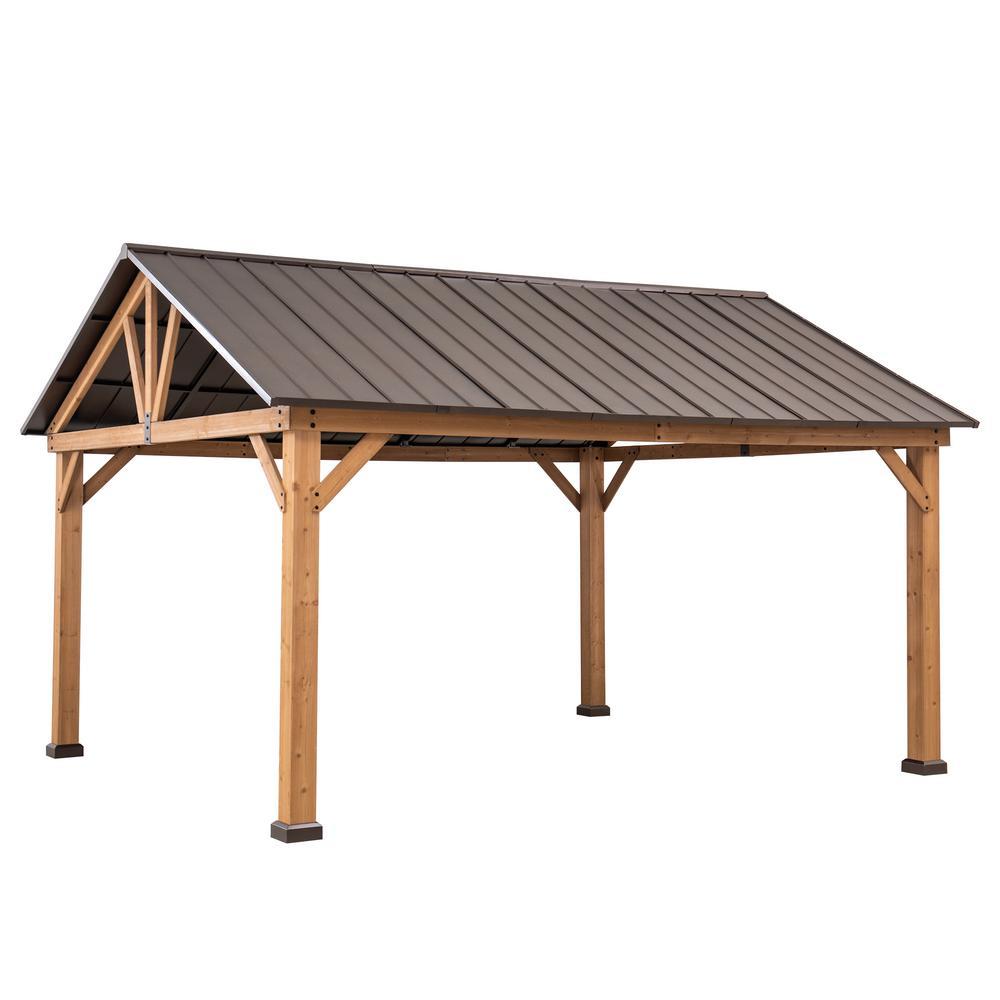 Wynn 12 ft. x 14 ft. Cedar Framed Gazebo with Brown Steel Gable Roof Hardtop