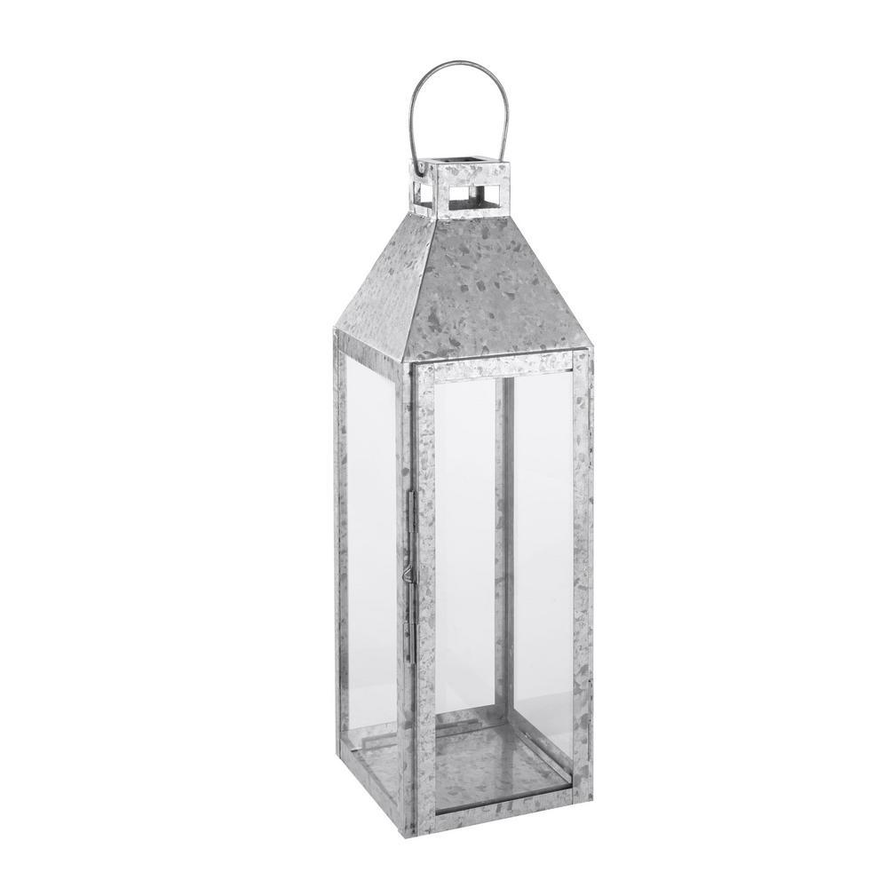 hamptonbay Hampton Bay 22 in. Galvanized Metal and Glass Outdoor Patio Lantern