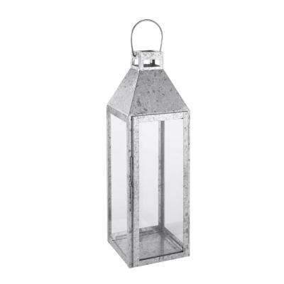 22 in. Galvanized Metal and Glass Lantern