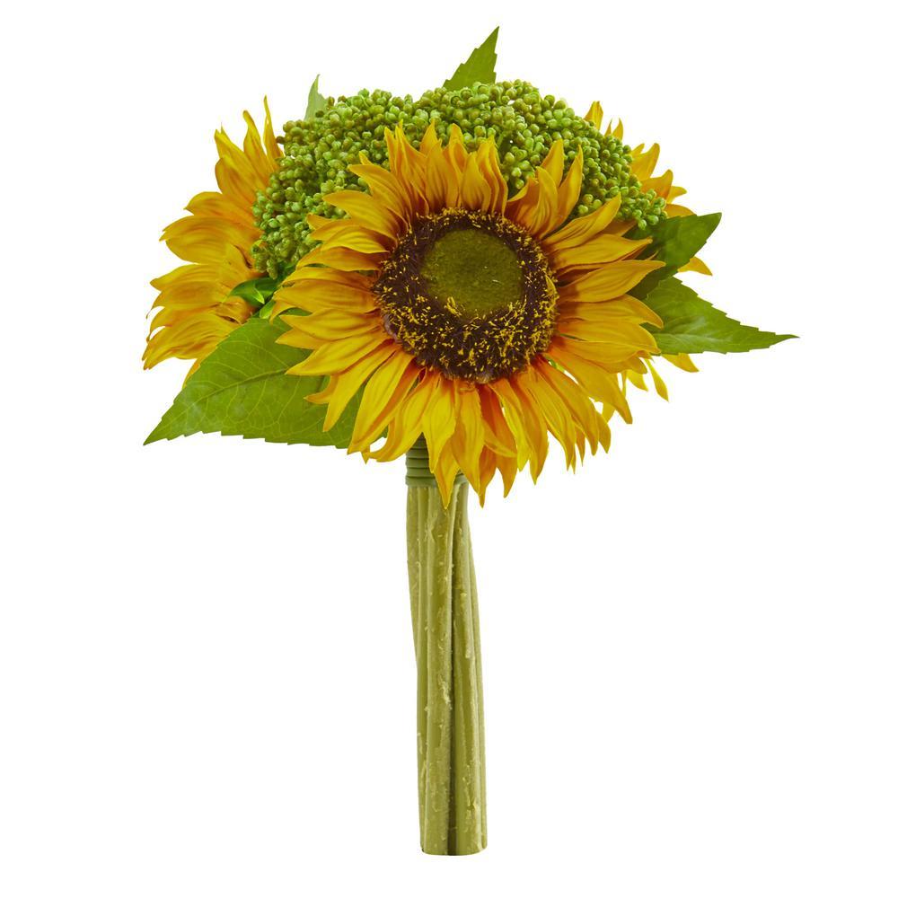 Indoor 12 in. Sunflower Bundle Artificial Flower (Set of 3)