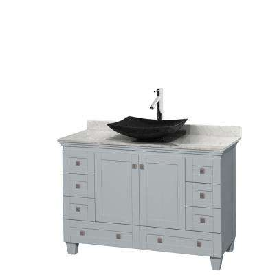 Acclaim 48 in. W x 22 in. D Vanity in Oyster Gray with Marble Vanity Top in Carrera White with Black Basin